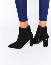 New Look Pointed Metal Detail Heeled Ankle Boots Black