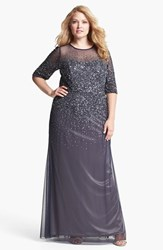Adrianna Papell Plus Size Women's Beaded Illusion Gown Navy