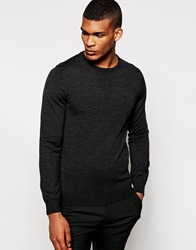Reiss Merino Wool Crew Neck Knitted Jumper Charcoal