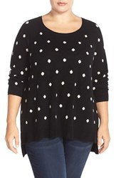 Plus Size Women's Sejour Wool And Cashmere Scoop Neck Sweater Black Ivory Dot Pattern