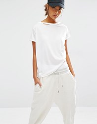 Daisy Street Relaxed T Shirt With Distressed Neck White