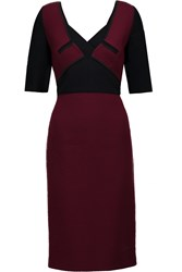 Roland Mouret Axele Paneled Crepe And Textured Knit Dress