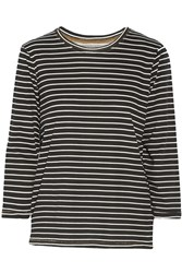 Current Elliott The Game Day Striped Cotton Top Black