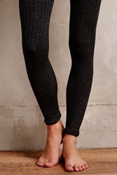 Anthropologie Marled Knit Tights Grey