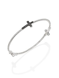 Jude Frances Black Spinel And Sterling Silver Cross Bracelet