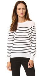 Jenni Kayne Striped Cashmere Sweater Ivory Black