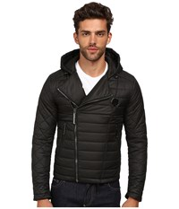 Philipp Plein Hooded Puff Jacket With Asymmetrical Zip Black
