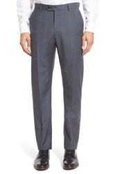 Men's Monte Rosso Flat Front Plaid Wool Trousers Grey Blue