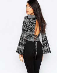 Influence Inlfluence Tie Back Flute Sleeve Crop Top In Boho Print Black