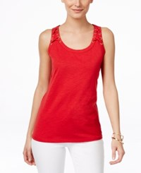 Inc International Concepts Lace Up Tank Top Only At Macy's Real Red