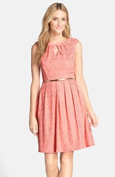 'Gilded' Belted Knit Fit And Flare Dress Coral