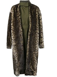 Toga Faux Fur Leopard Print Coat Green