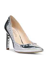 Fergie Helix Point Toe Metallic Leather Pumps Silver