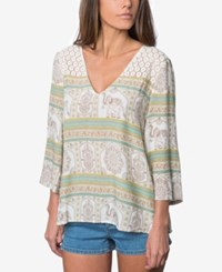 O'neill Juniors' Maggie Printed Three Quarter Sleeve Blouse Naked
