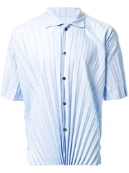 Homme Plisse Issey Miyake Pleated Short Sleeve Shirt Blue