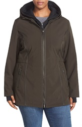 Dkny Hooded Soft Shell Jacket With Inset Vest Plus Size Loden