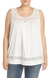 Caslon Plus Size Women's Lace Trim Pima Cotton Tank