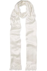 Chloe Fringed Silk Satin Scarf Off White