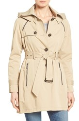 Women's French Connection Single Breasted Skirted Trench Coat With Removable Hood Khaki