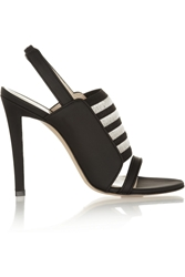 Christopher Kane Elastic Paneled Matte Leather Slingbacks Black