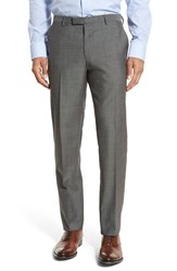 Boss Men's 'Leenon' Flat Front Solid Wool Trousers Medium Grey