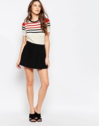 Ganni Garmina Black Pleat Front Mini Skirt
