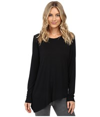 Trina Turk Long Sleeve Drape Shirt Black Women's Clothing