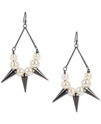 Inc International Concepts Hematite Tone Imitation Pearl And Spike Chandelier Earrings Only At Macy's Gray