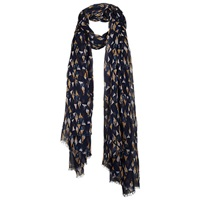 Fat Face Exclusive Triangle Print Scarf Navy
