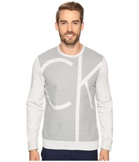 Calvin Klein Long Sleeve Color Blocked Printed Crew Neck Shirt Cool Gris Heather Men's Clothing White