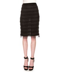 Givenchy Micro Ruffle Embroidered Pencil Skirt Black