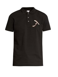 Loewe Mushroom Embroidered Cotton Polo Shirt Black Multi