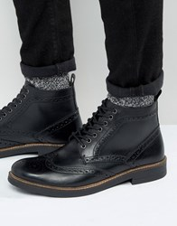 Frank Wright Brogue Boots In Black Leather Black