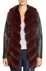 Badgley Mischka 'Gwen' Genuine Fox Fur And Lambskin Leather Coat Burgundy