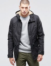 Element Roghan Waxed Long Parka Black With Quilted Lining Black