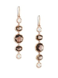 Michael Kors Urban Rush Smoky Topaz And Crystal Drop Earrings Rose Gold