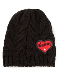 Diesel Cable Knit Beanie Hat Black