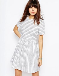 Asos Natural Fibre Stripe Skater Dress Multi
