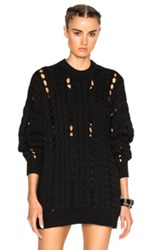 Alexander Wang Cable Knit Crewneck Sweater In Black