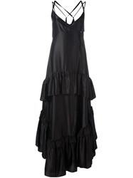 Attico Ruffled Layers Gown Black