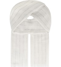 The Kooples Striped Silk Cotton Scarf White Black