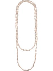 Chanel Vintage Faux Pearl Double Strand Necklace Pink And Purple