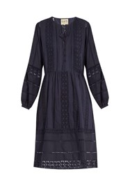 Sea Neck Tie Lace Trimmed Cotton Dress Navy