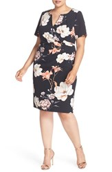 Adrianna Papell Plus Size Women's Side Pleat Floral Print Sheath Dress Black Multi