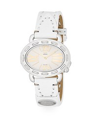 Fendi Timepieces Selleria Stainless Steel And Leather Strap Oval Watch Silver White