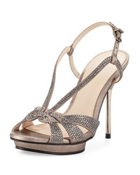 Pelle Moda Perry Crystal Suede Slingback Sandal Pewter Silver