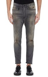R 13 R13 Distressed Drop Jeans Grey