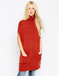 Asos Tunic With High Neck Tobacco