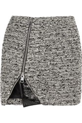 Bouchra Jarrar Wool Blend Tweed And Faux Patent Leather Mini Skirt Gray
