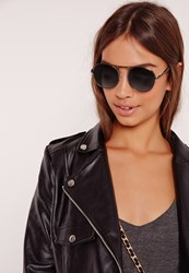 Missguided Rounded Edge Sunglasses Black Black